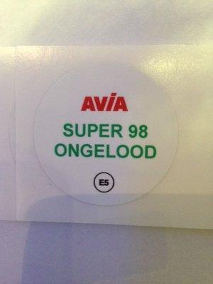 AVIA Nozzlesticker super 98 ongelood E5
