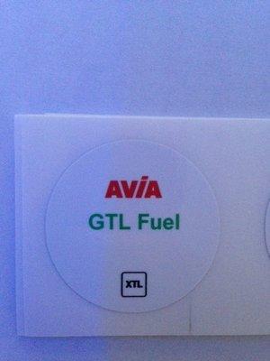 AVIA Nozzlesticker GTL Fuel XTL art. 1022