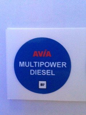 AVIA Nozzlesticker Multipower Diesel B7 art. 1021