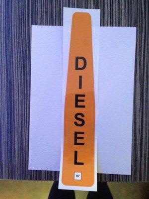 AVIA waarschuwings Klepsticker Diesel B7 art. 1020