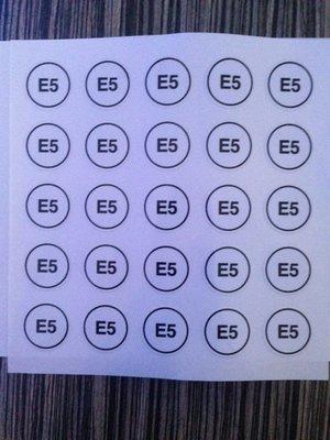 Label sticker product E5  art. 1017