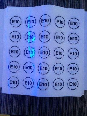 Label sticker product E10