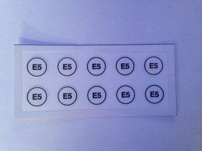 Label sticker nozzle  klein minimum formaat E5 art. 1013